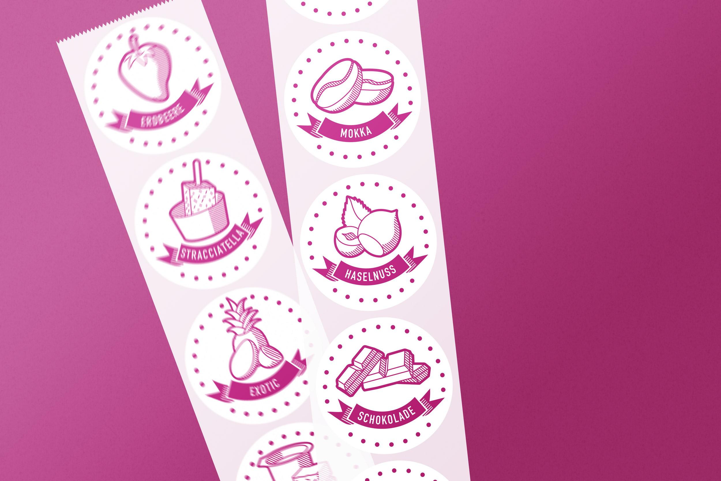 Bohnenblust-Glace-Etiketten